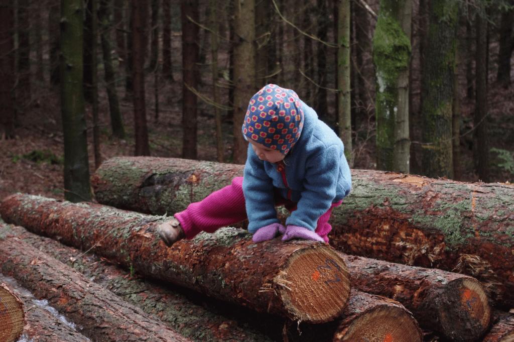 Mila klettert über Baumstämme auf dem Weg zum Erlebnispfad.