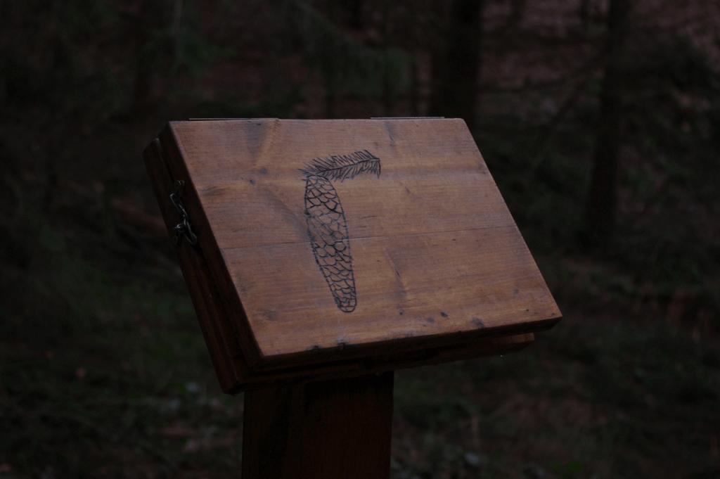 Außen auf den Tafeln befinden sich Abbildungen und innen steht der Name geschrieben.